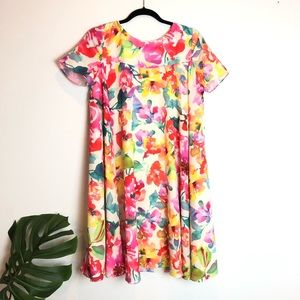Trina Turk Watercolor Floral 60s dress